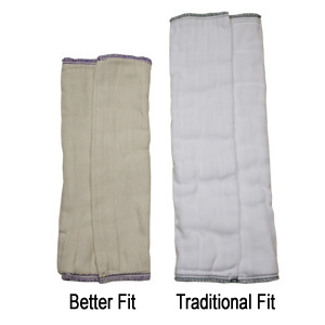 Washed<br>Better Fit compared to Traditional<br>Prefold